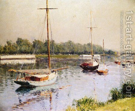 The Harbour of Argentueil by Gustave Caillebotte - Reproduction Oil Painting