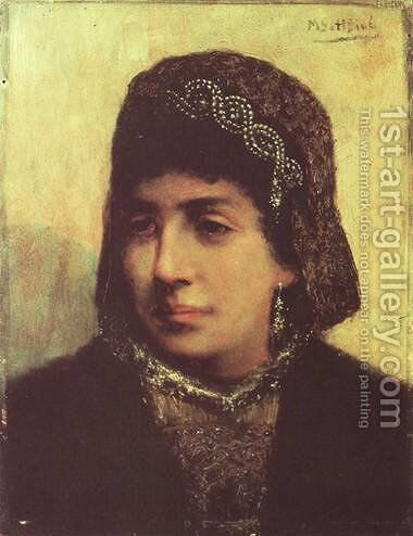 Head of a Jewish Bride by Maurycy Gottlieb - Reproduction Oil Painting