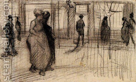 People Walking on a Street in the Evening by Vincent Van Gogh - Reproduction Oil Painting