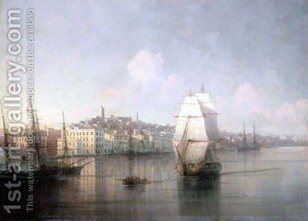 View of seaside town by Ivan Konstantinovich Aivazovsky - Reproduction Oil Painting