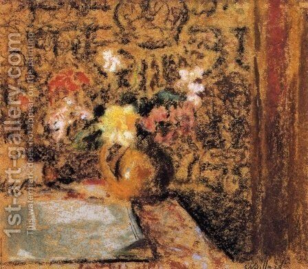 Still Life with Flowers by Edouard  (Jean-Edouard) Vuillard - Reproduction Oil Painting