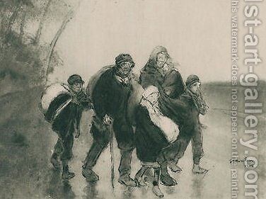 L'Exode 3 by Theophile Alexandre Steinlen - Reproduction Oil Painting