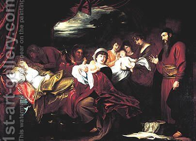 Esau and Jacob Presented to Isaac by Benjamin West - Reproduction Oil Painting