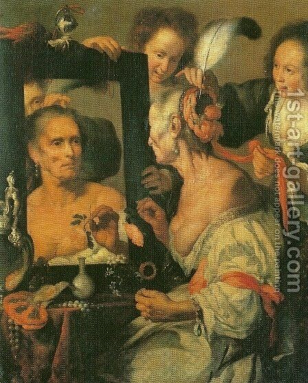 Old Coquette by Bernardo Strozzi - Reproduction Oil Painting