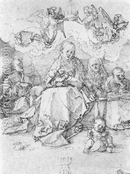 Holy Family, crowned by two angels by Albrecht Durer - Reproduction Oil Painting