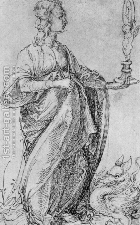 Drawing from the Tarot  Prudence by Albrecht Durer - Reproduction Oil Painting