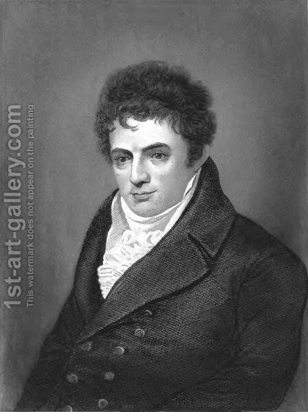 Portrait engraving of Robert Fulton, steamboat innovator by Benjamin West - Reproduction Oil Painting