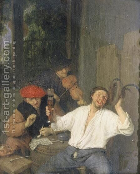 The Merry Drinkers by Adriaen Jansz. Van Ostade - Reproduction Oil Painting
