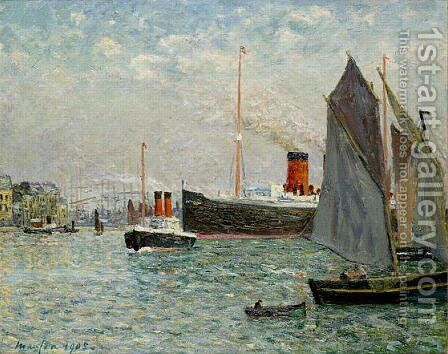 The Transatlantic leaving Port by Maxime Maufra - Reproduction Oil Painting