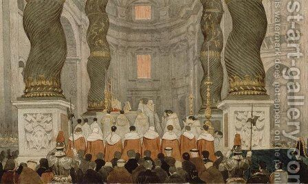Papal ceremony in St. Peter's in Rome under the canopy of Bernini by Jean Auguste Dominique Ingres - Reproduction Oil Painting