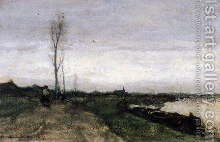 Road near the canal by Jan Hendrik Weissenbruch - Reproduction Oil Painting