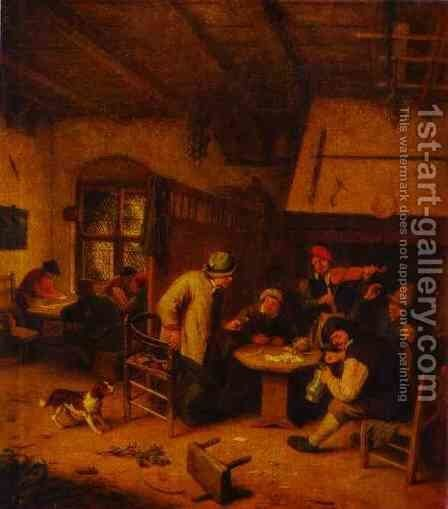 In a Tavern by Adriaen Jansz. Van Ostade - Reproduction Oil Painting