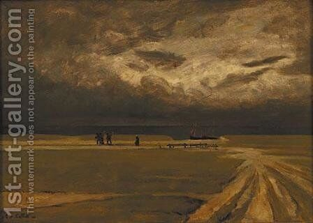 Fishermen fleeing the storm by Charles Cottet - Reproduction Oil Painting