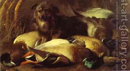 Decoyman's Dog and Duck by Sir Edwin Henry Landseer - Reproduction Oil Painting