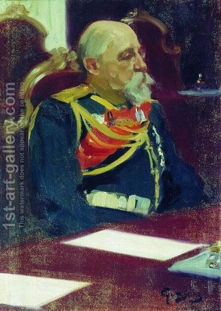 Portrait of a Governor-General of Finland N.I. Bobrikov by Boris Kustodiev - Reproduction Oil Painting