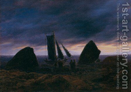 Fishing boat between two rocks on the beach of the Baltic Sea by Caspar David Friedrich - Reproduction Oil Painting
