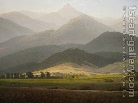 View from the Small Warmbrunn Sturmhaube by Caspar David Friedrich - Reproduction Oil Painting
