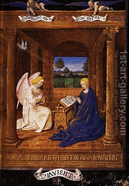The Annunciation dove by Jean Fouquet - Reproduction Oil Painting