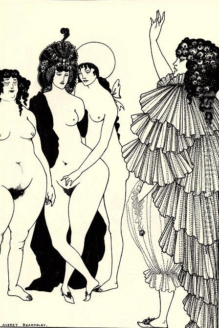 Lysistrata Haranguing the Athenian Women by Aubrey Vincent Beardsley - Reproduction Oil Painting