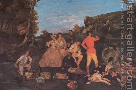 The Huntsman's Picnic 2 by Gustave Courbet - Reproduction Oil Painting