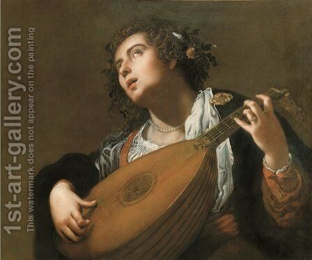Woman Playing a Lute by Artemisia Gentileschi - Reproduction Oil Painting