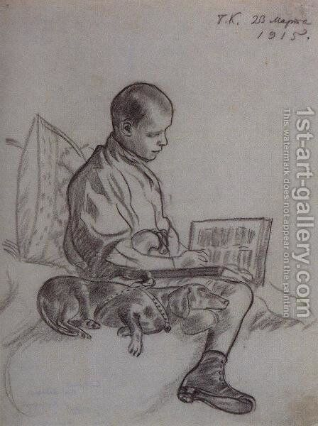 Boy with dog (Portrait of Cyril Kustodiev, son of the artist) by Boris Kustodiev - Reproduction Oil Painting
