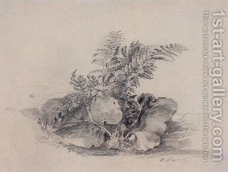 Fern leaves and burdock by Alexei Kondratyevich Savrasov - Reproduction Oil Painting