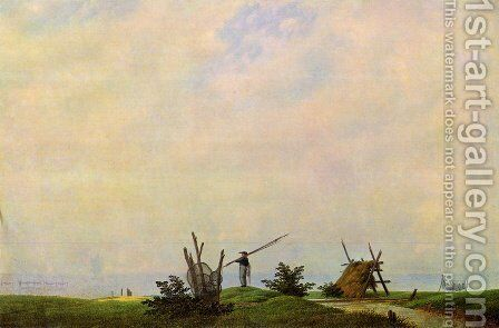Sea beach with fisherman (The fisherman) by Caspar David Friedrich - Reproduction Oil Painting