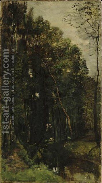 The woods and creek by Charles-Francois Daubigny - Reproduction Oil Painting