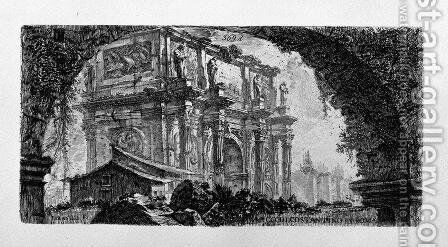 View of the Arch of Augustus d'Aosta (dis Newdigate by R, F inc Piranesi) by Giovanni Battista Piranesi - Reproduction Oil Painting