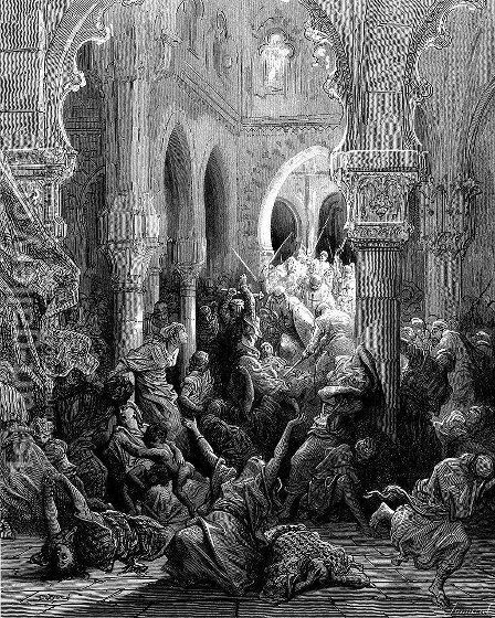 The Crusaders massacre the inhabitants of Caesarea by Gustave Dore - Reproduction Oil Painting