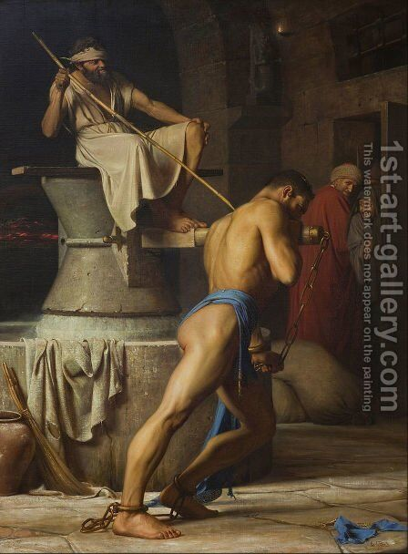 Samson and the Philistines (Samson in the Threadmill) by Carl Heinrich Bloch - Reproduction Oil Painting