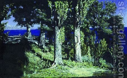 Cypresses on a Seashore. The Crimea by Arkhip Ivanovich Kuindzhi - Reproduction Oil Painting