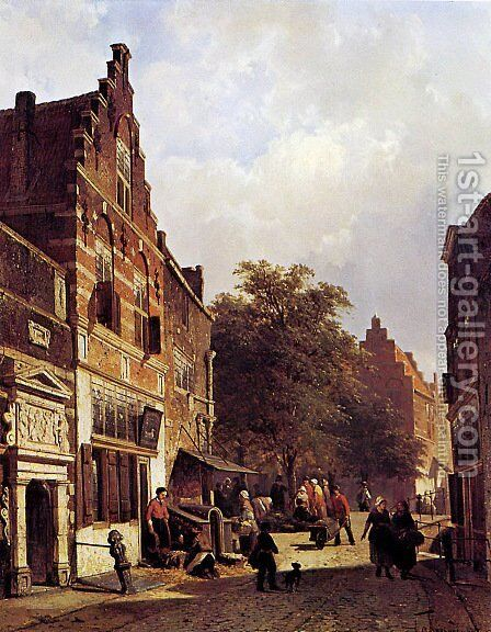 Street view by Cornelis Springer - Reproduction Oil Painting