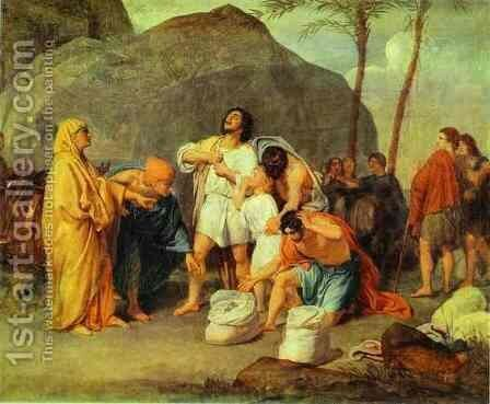 Joseph's Brothers Find the Silver Goblet in Benjamin's Pack by Alexander Ivanov - Reproduction Oil Painting