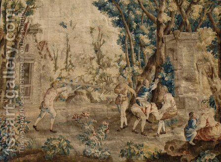 Les Amusements Champetres Le cheval fondu (Tapestry) by Jean-Baptiste Oudry - Reproduction Oil Painting