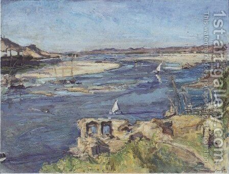 The Nile at Aswan by Max Slevogt - Reproduction Oil Painting