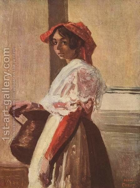 Italian with Mug by Jean-Baptiste-Camille Corot - Reproduction Oil Painting