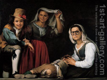Four Figures on a Step by Bartolome Esteban Murillo - Reproduction Oil Painting