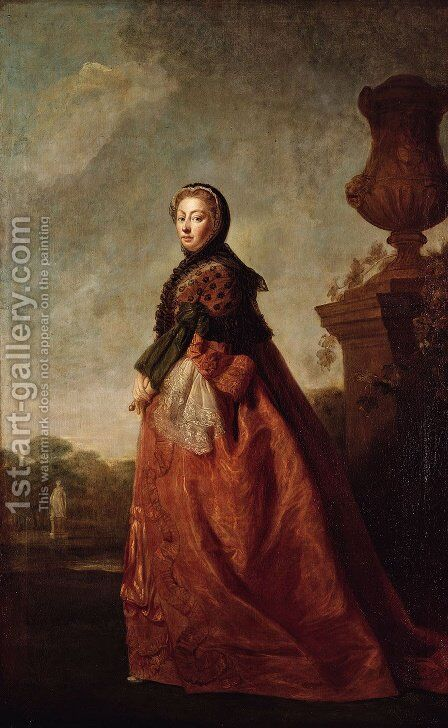 Portrait of Augusta of Saxe Gotha, Princess of Wales 2 by Allan Ramsay - Reproduction Oil Painting