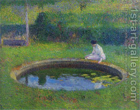 Madame Martin by the Pool in Marquayrol by Henri Martin - Reproduction Oil Painting