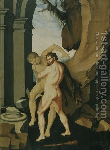 Hercules and Antaeus by Hans Baldung  Grien - Reproduction Oil Painting