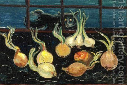 Still Life with Cat and Onions by Boris Dmitrievich Grigoriev - Reproduction Oil Painting
