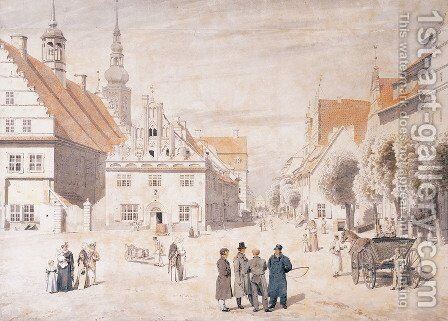 Greifswald market by Caspar David Friedrich - Reproduction Oil Painting