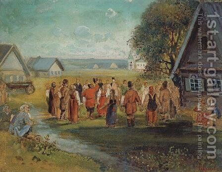 Round dance in the village by Alexei Kondratyevich Savrasov - Reproduction Oil Painting
