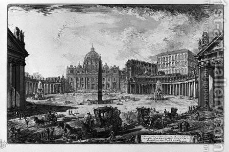 View of the Basilica of St. Peter's Square at the Vatican by Giovanni Battista Piranesi - Reproduction Oil Painting