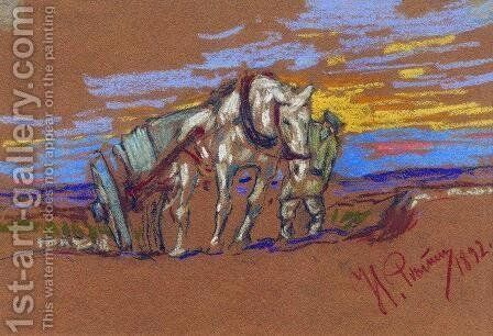 Carrying Horse by Ilya Efimovich Efimovich Repin - Reproduction Oil Painting