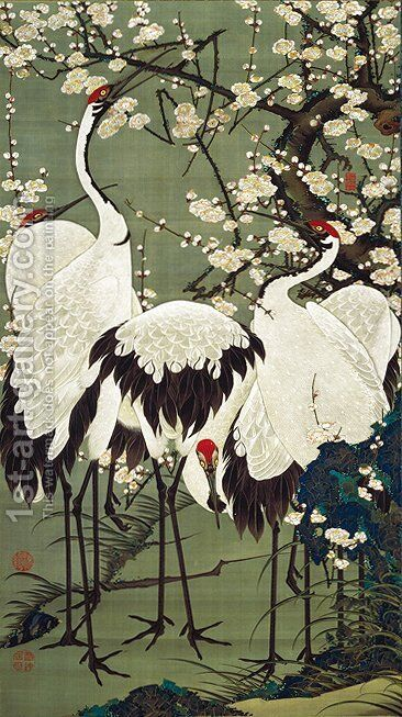 Plum Blossoms and Cranes by Ito Jakuchu - Reproduction Oil Painting