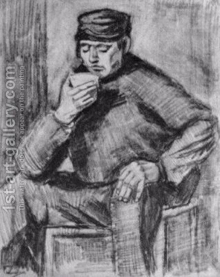 Young Man, Sitting with a Cup in his Hand, Half-Length by Vincent Van Gogh - Reproduction Oil Painting