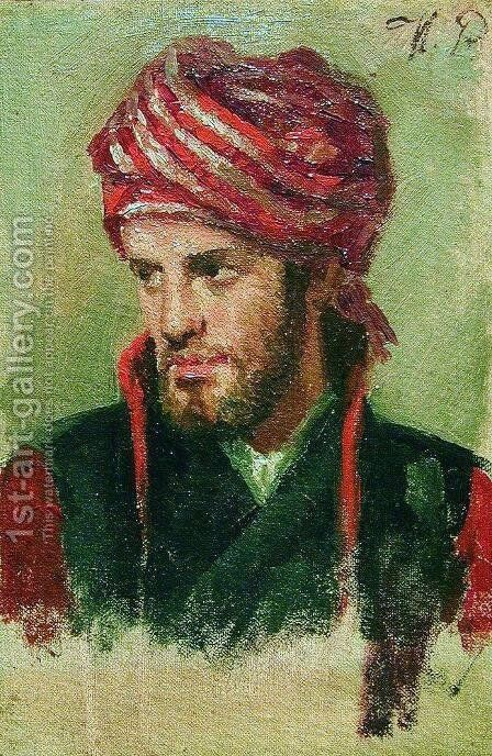 Portrait of a young man in a turban by Ilya Efimovich Efimovich Repin - Reproduction Oil Painting